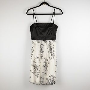 Shimmer Floral Black & Floral White Mini Dress